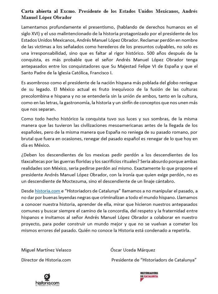 Carta abierta al Excmo. Presidente de los Estados Unidos Mexicanos